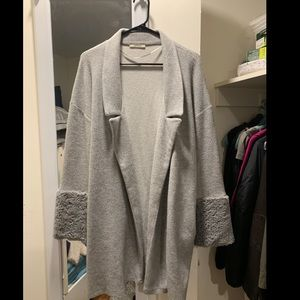 Zara Trafaluc Gray Long Cardigan Fuzzy Sleeves